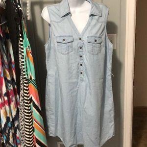 New York & Company denim sleeveless dress size xl